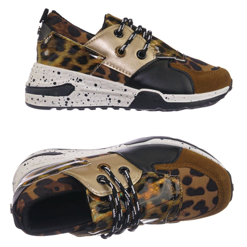 Brown Leopard / Galaxy01K Brown Leopard Kids Unisex Multicolor Trainer - Children Color Paneled Chunky Sneaker