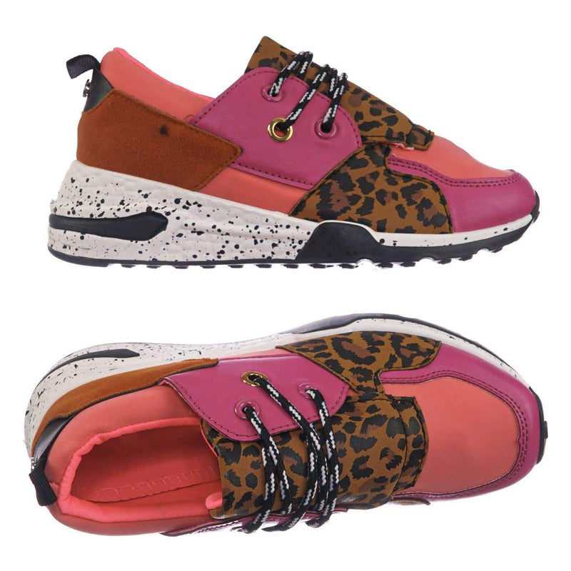 Fuchsia Pink Leopard / Galaxy01K Fuchsia Pink Leopard Kids Unisex Multicolor Trainer - Children Color Paneled Chunky Sneaker