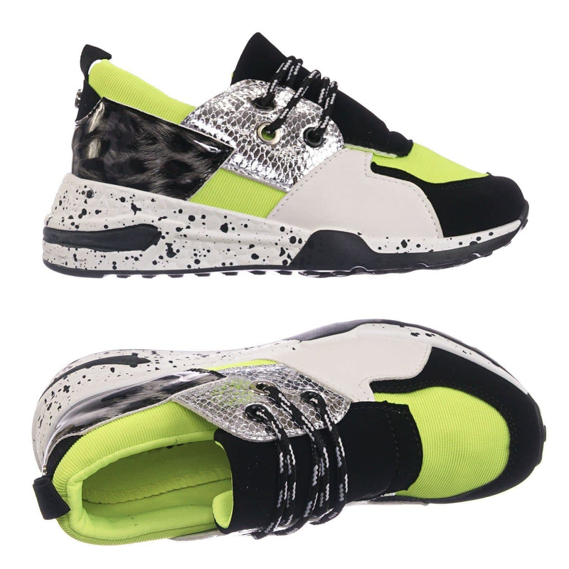 Neon Green Print / Galaxy01K Neon Green Print Kids Unisex Multicolor Trainer - Children Color Paneled Chunky Sneaker