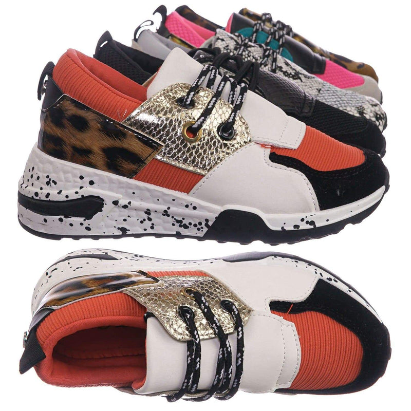 Orange Gold Print / Galaxy01K Orange Gold Print Kids Unisex Multicolor Trainer - Children Color Paneled Chunky Sneaker