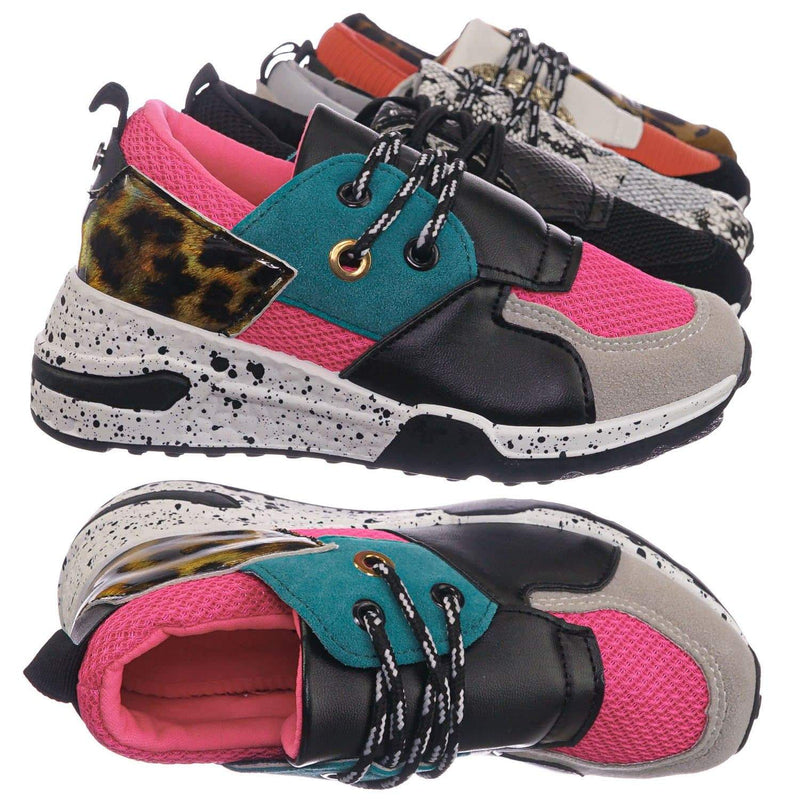 Pink Blue Print / Galaxy01K Pink Blue Print Kids Unisex Multicolor Trainer - Children Color Paneled Chunky Sneaker