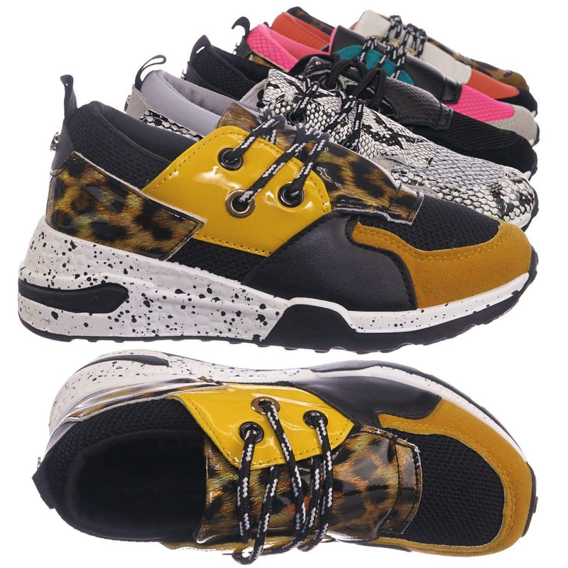 Yellow Leopard / Galaxy01K Yellow Leopard Kids Unisex Multicolor Trainer - Children Color Paneled Chunky Sneaker