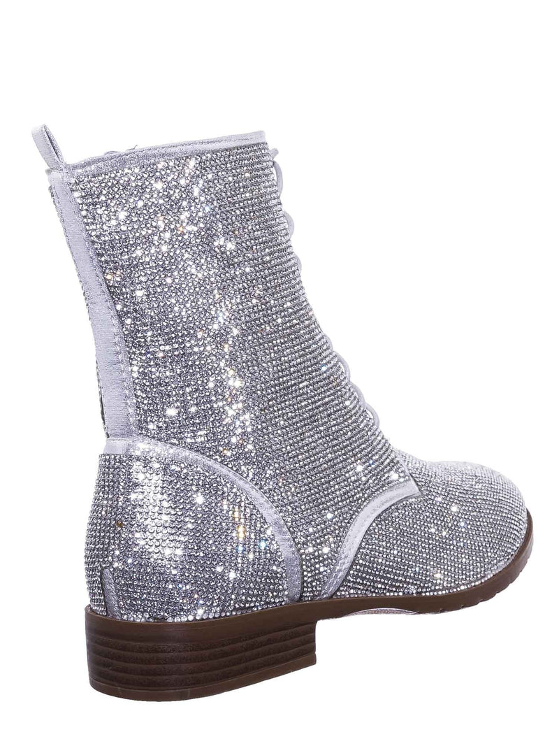 All Silver / Glisten26 Rhinestone Crystal Combat Boots - Womens Embellished Lace Up Military