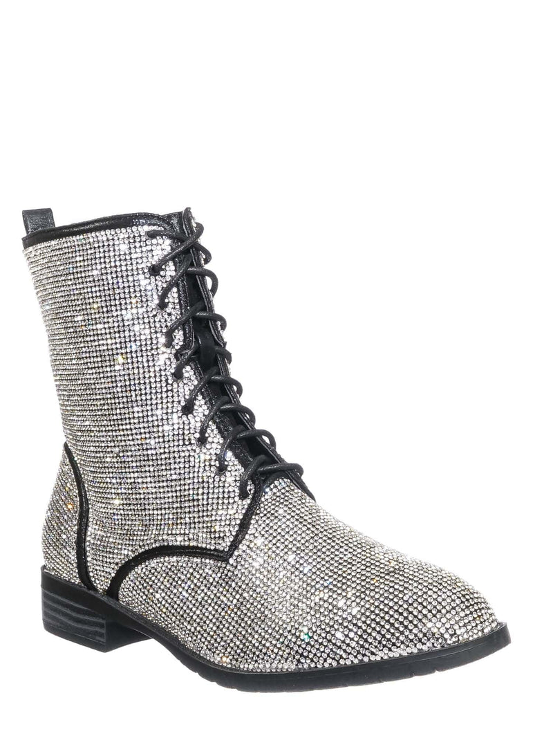 Silver Black / Glisten26 Rhinestone Crystal Combat Boots - Womens Embellished Lace Up Military