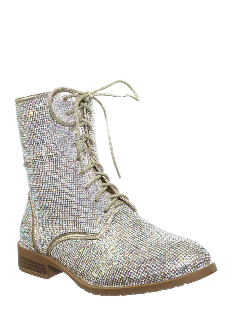 Champagne Gold / Glisten26 Rhinestone Crystal Combat Boots - Womens Embellished Lace Up Military