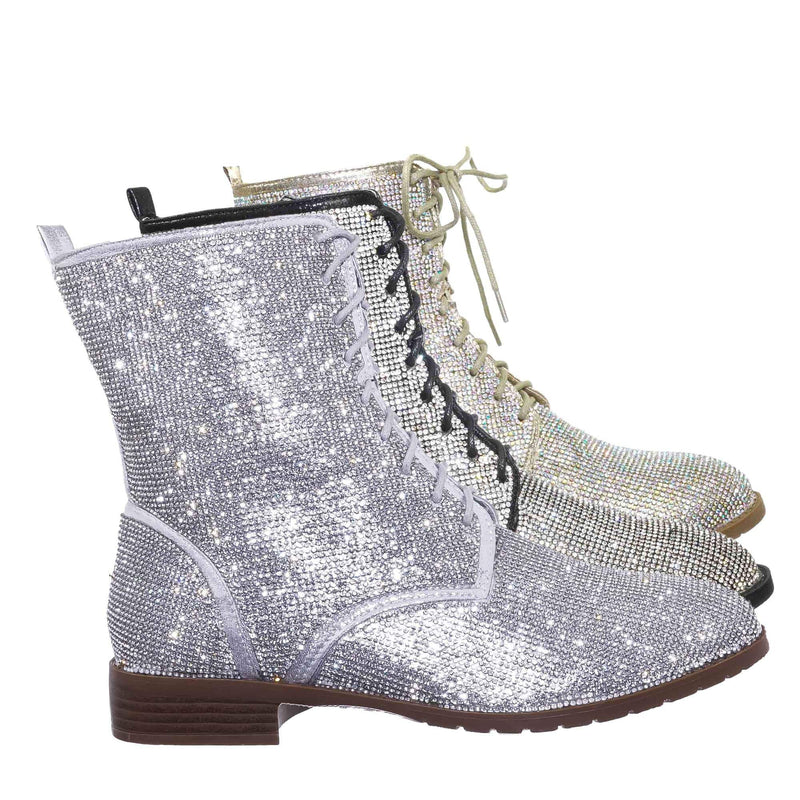 Glisten26 Rhinestone Crystal Combat Boots - Womens Embellished Lace Up Military