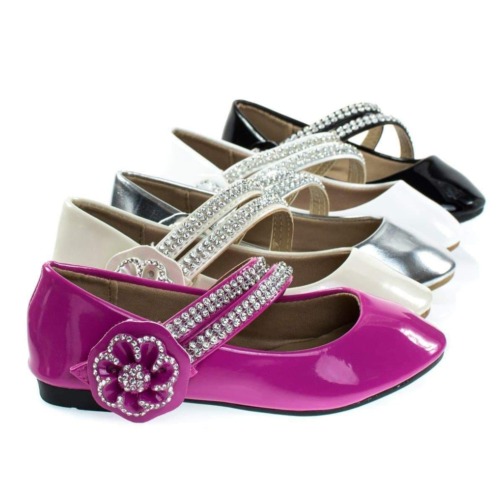 Gloria61K By Forever Link, Girl Rhinestone Flower Hook & Loop Mary-Jane Strap, Children Flat
