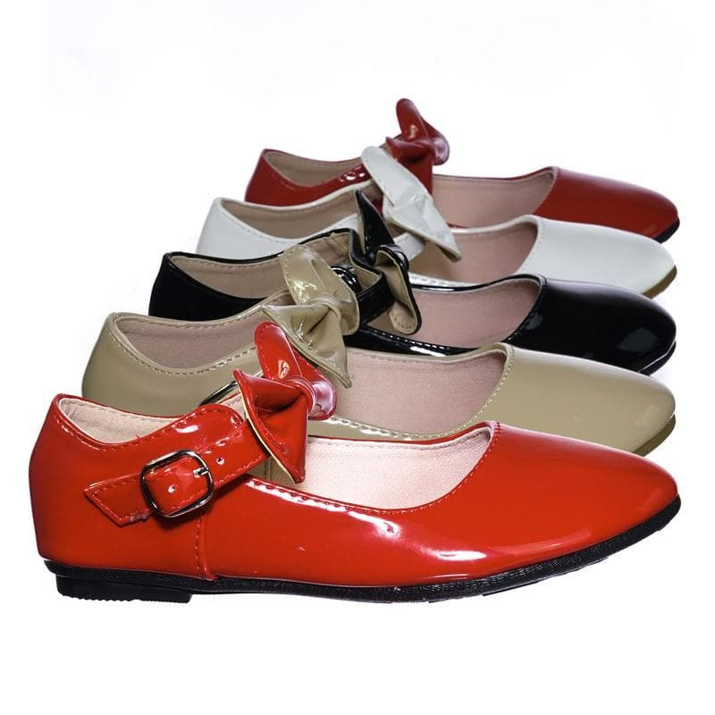 Gloria64K Red Children Girls Mary Jane Round Toe Ballet Bellarina Flat w Bow