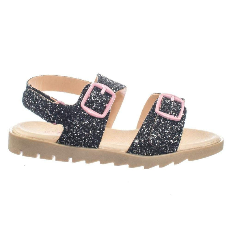 Holy33K Children Girl's Open Toe Rubber Molded Footbed Sandal w Rock Glitter