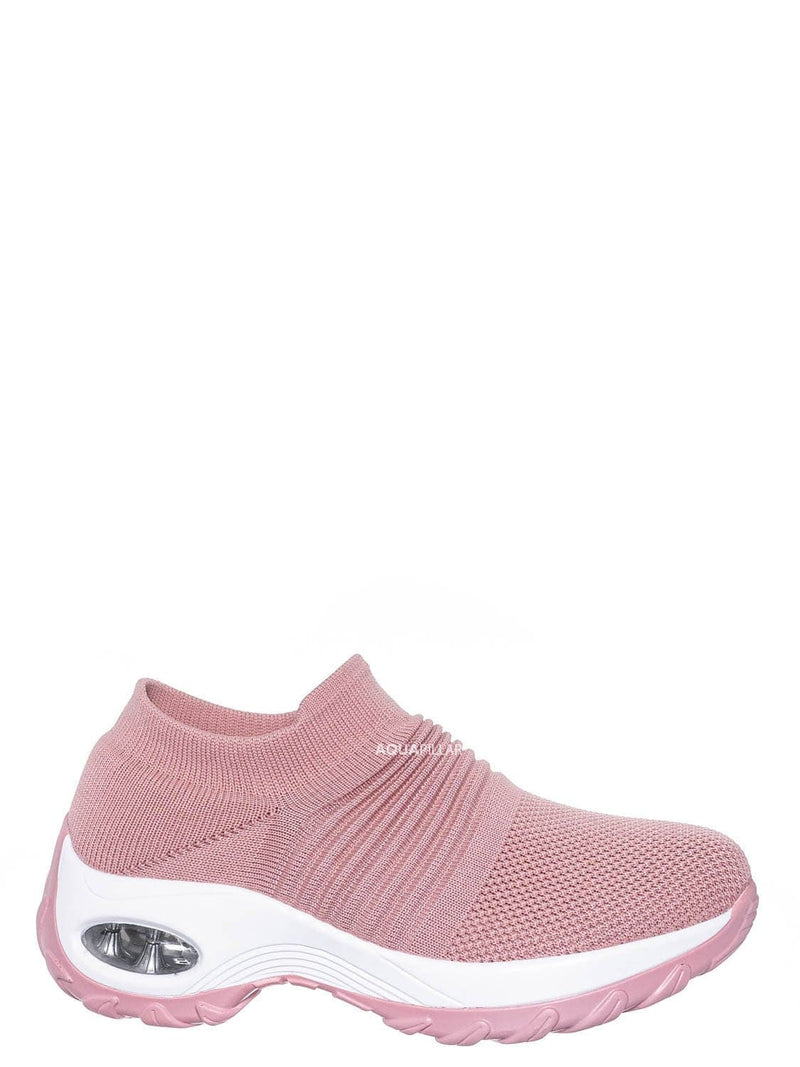 Mauve Pink / Impact15 Slip On Sock Sneaker - Retro Knitted Cushioned Stretch Knit Snockers