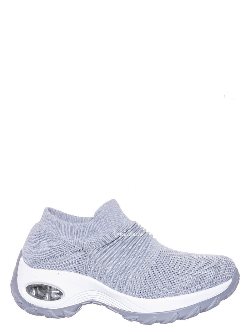 Gray / Whtie / Impact15 Slip On Sock Sneaker - Retro Knitted Cushioned Stretch Knit Snockers