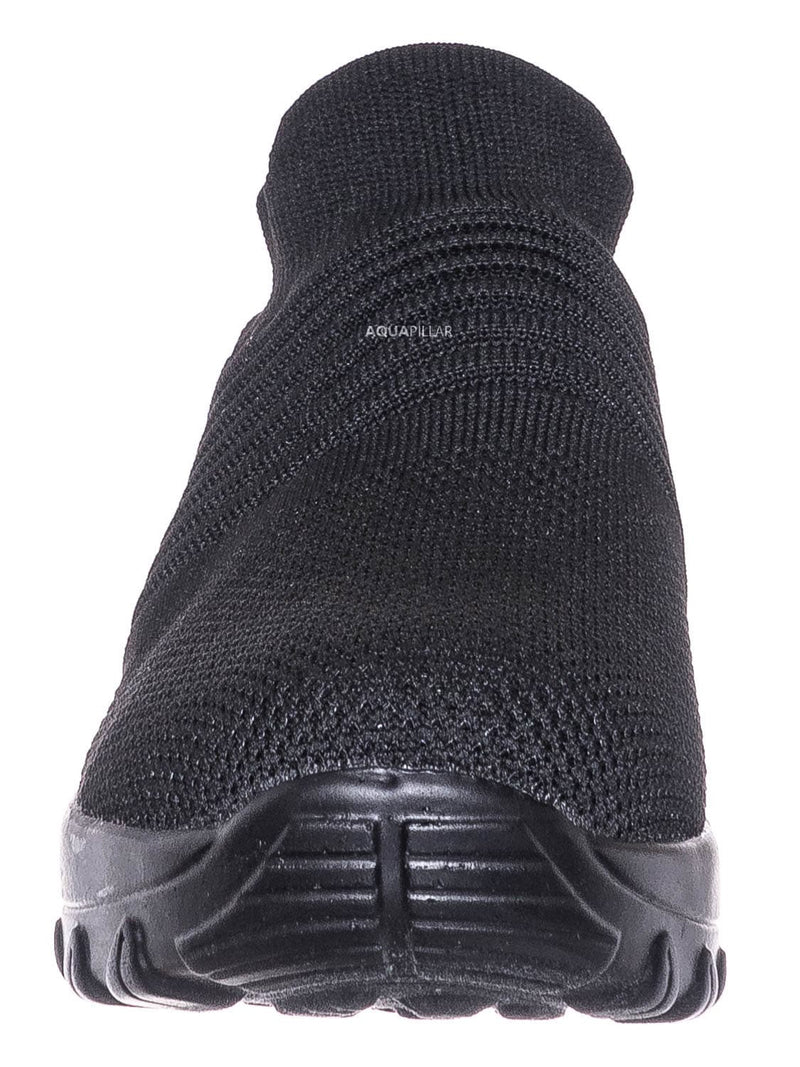 Charcoal / Black / Impact15 Slip On Sock Sneaker - Retro Knitted Cushioned Stretch Knit Snockers