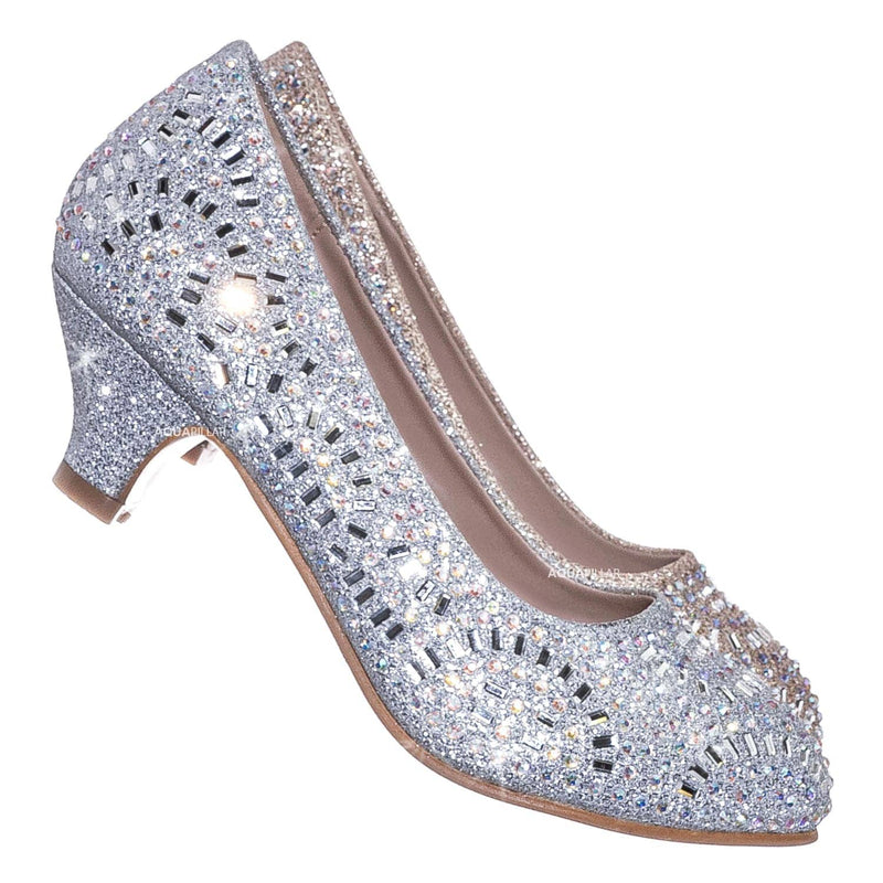 31 Silver / Jemma Children Girl Rhinestone Crystal Glitter Pump For Wedding & Parties
