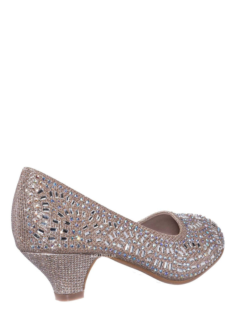31 Champagne / Jemma Children Girl Rhinestone Crystal Glitter Pump For Wedding & Parties