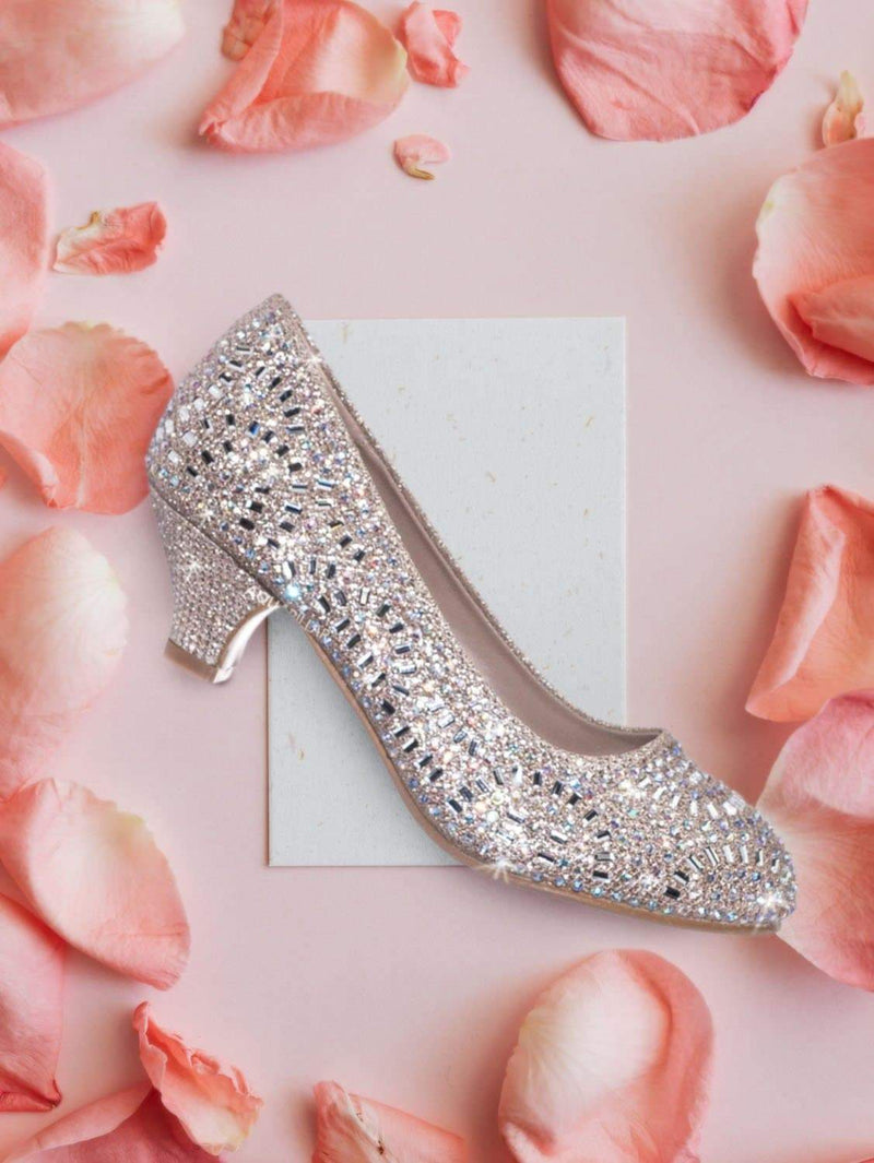 Jemma31 Children Girl Rhinestone Crystal Glitter Pump For Wedding & Parties