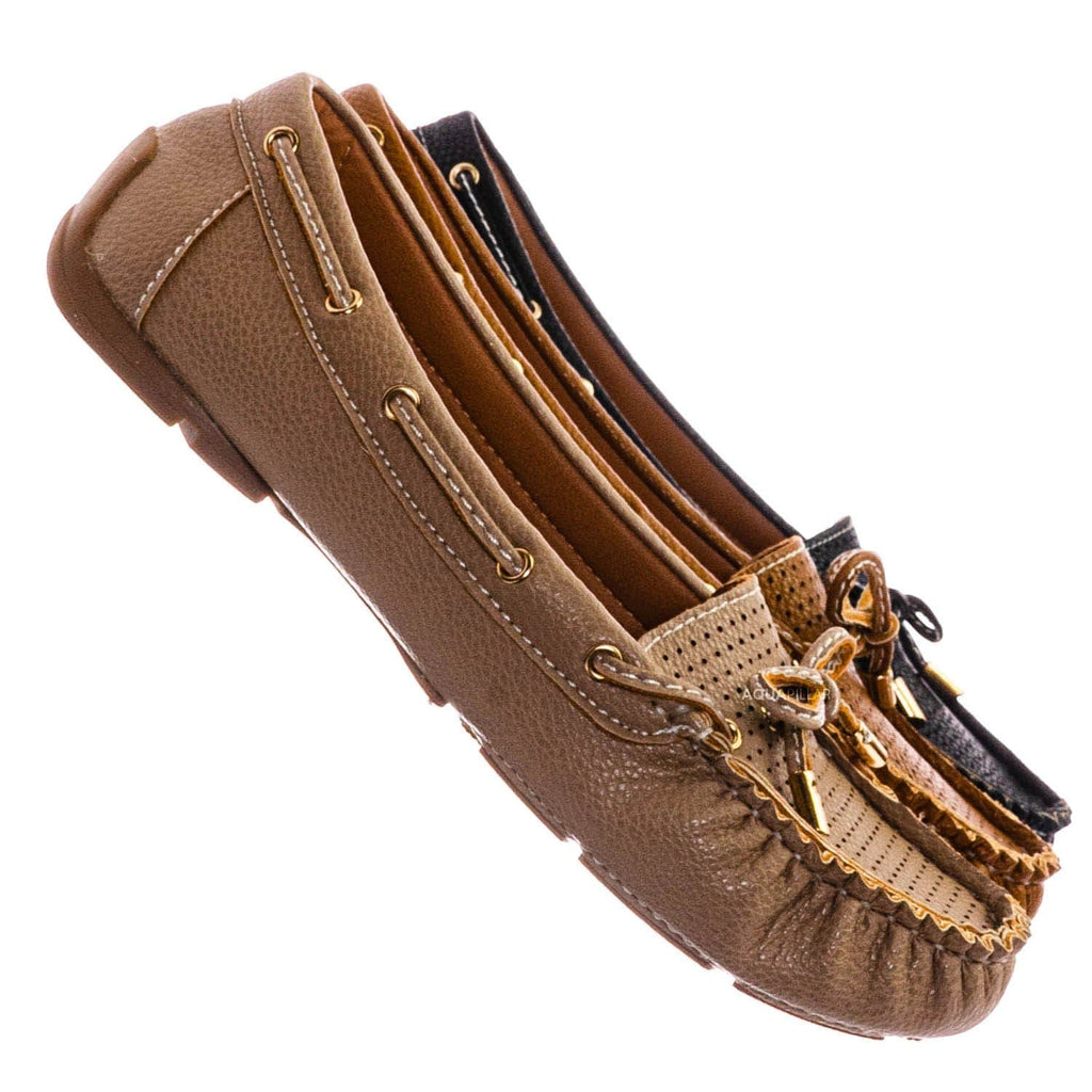 Taupe Gray / Jimmi06 Moccasin Boat Shoes - Women Raw Edge w Bow Tie Slippers