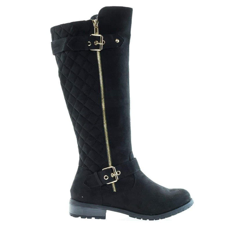 Mango23 By Forever, Calf High Biker Boots, Quilted Panel, Stack Heel & Threaded Lug Sole
