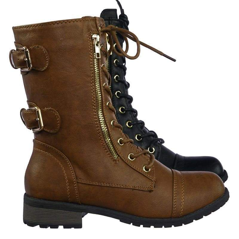 Mango71 Tan Women's Military Lace Up Combat Boots w Lug Sole & Metal Hardware