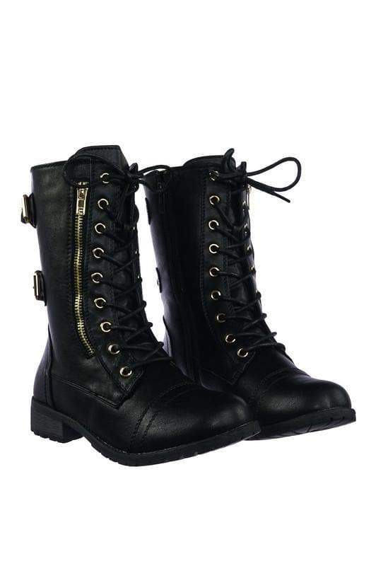 Mango71 Black Women's Military Lace Up Combat Boots w Lug Sole & Metal Hardware