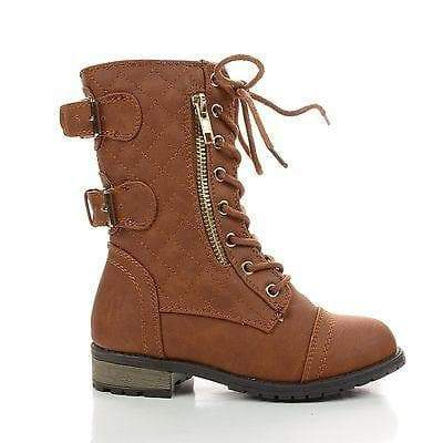 Mango79K Tan Pu By Link, Children Girls Mid Calf Quilted Back Buckle Lace Up Combat Boots