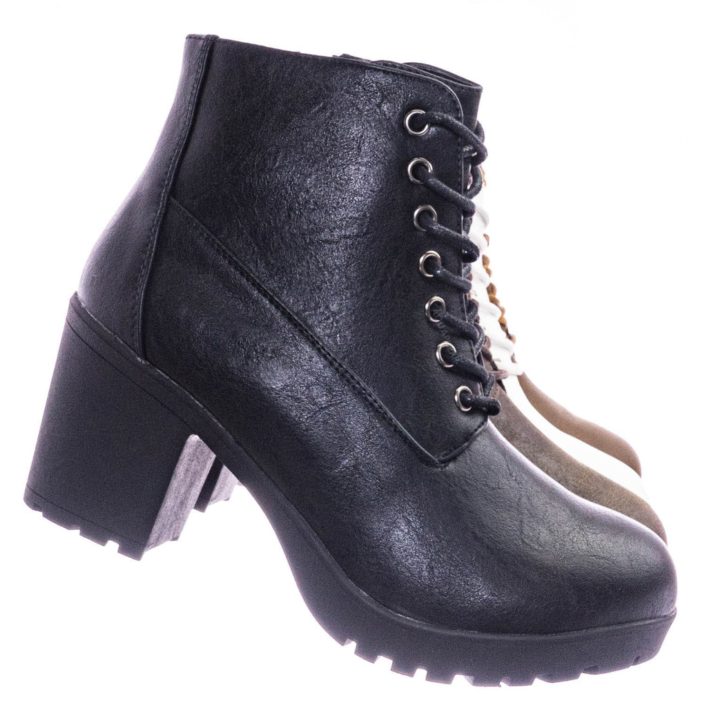 White / Plus12 Block Heel Combat Bootie - Chunky Military Chic Lace Up Ankle Boots