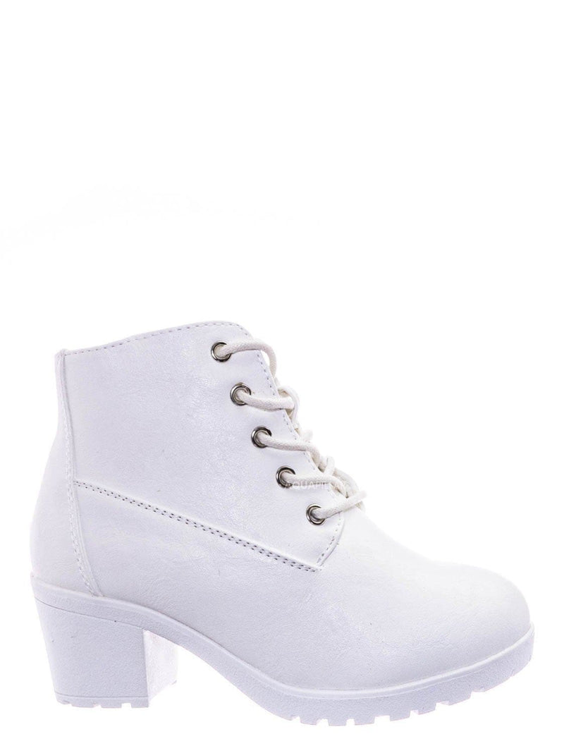 White / Plus12K Kids Block Heel Combat Bootie - Children Chunky Military Lace Ankle Boot