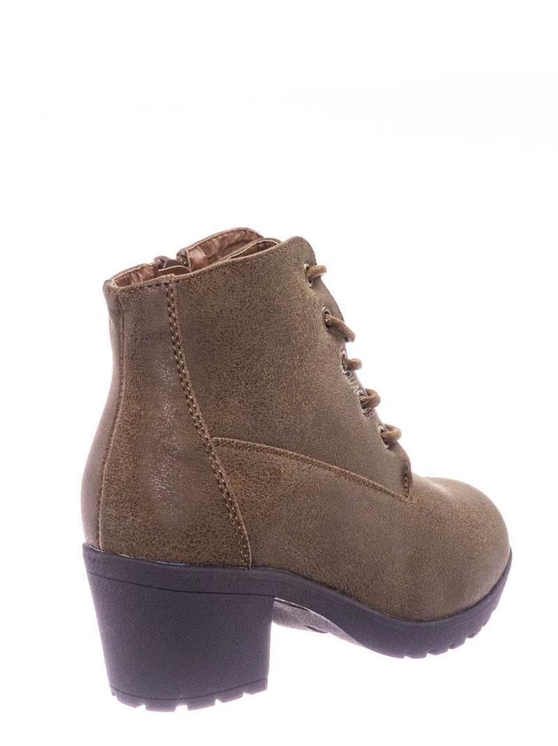 Tan / Plus12K Kids Block Heel Combat Bootie - Children Chunky Military Lace Ankle Boot