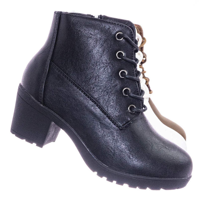 Black / Plus12K Kids Block Heel Combat Bootie - Children Chunky Military Lace Ankle Boot