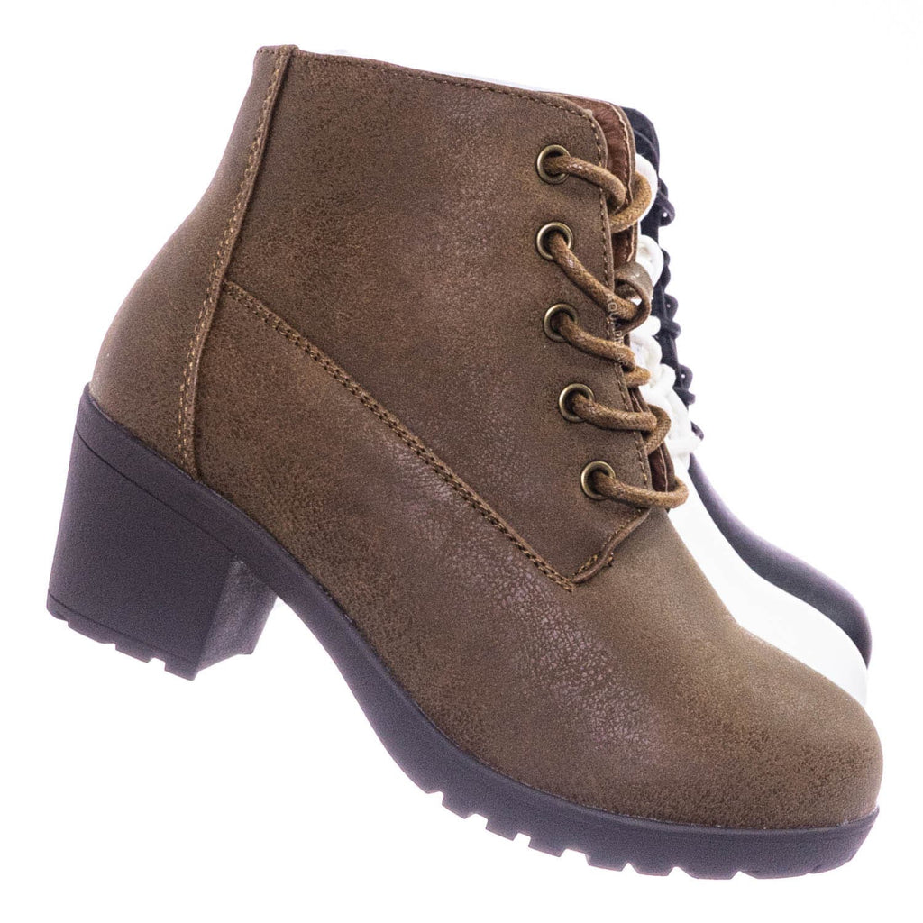 Plus12K Kids Block Heel Combat Bootie - Children Chunky Military Lace Ankle Boot