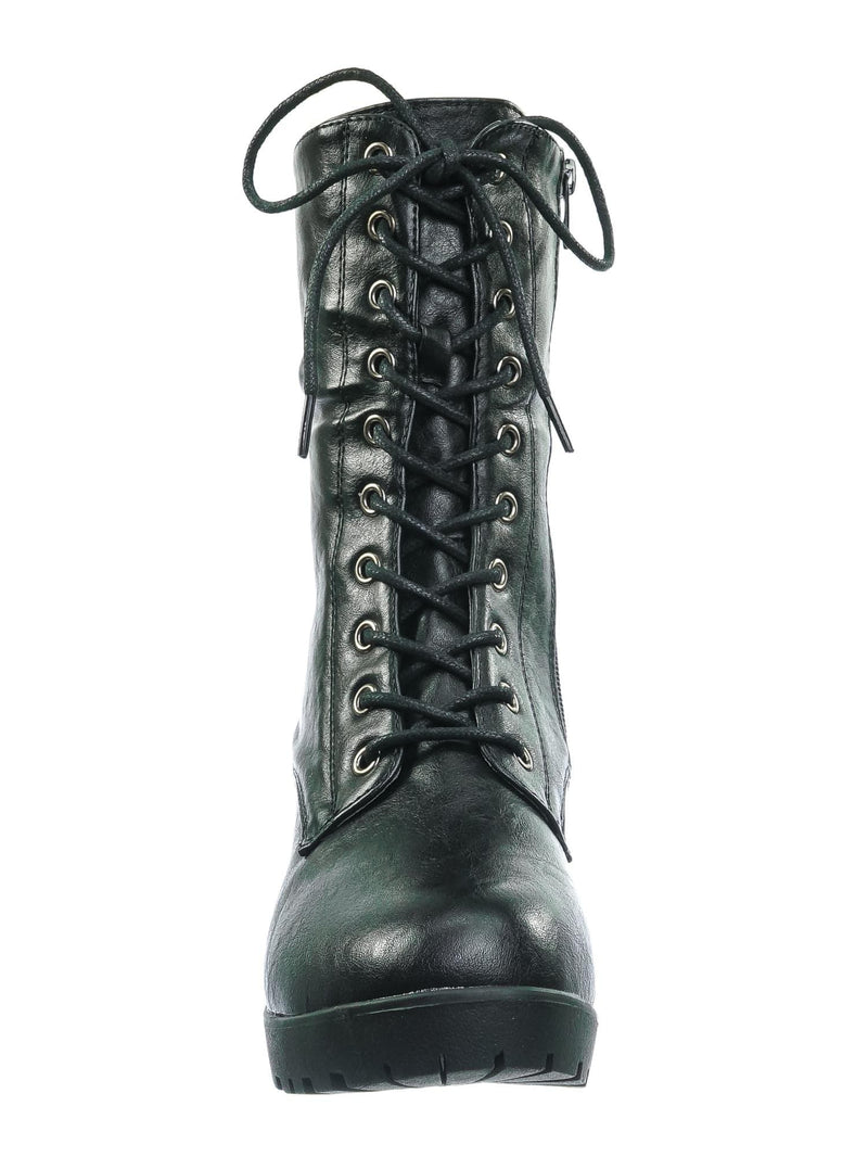 Black Pu / Plus571 Black Pu Vintage Military Combat Boots - Womens Engineered Lace Up Shoe
