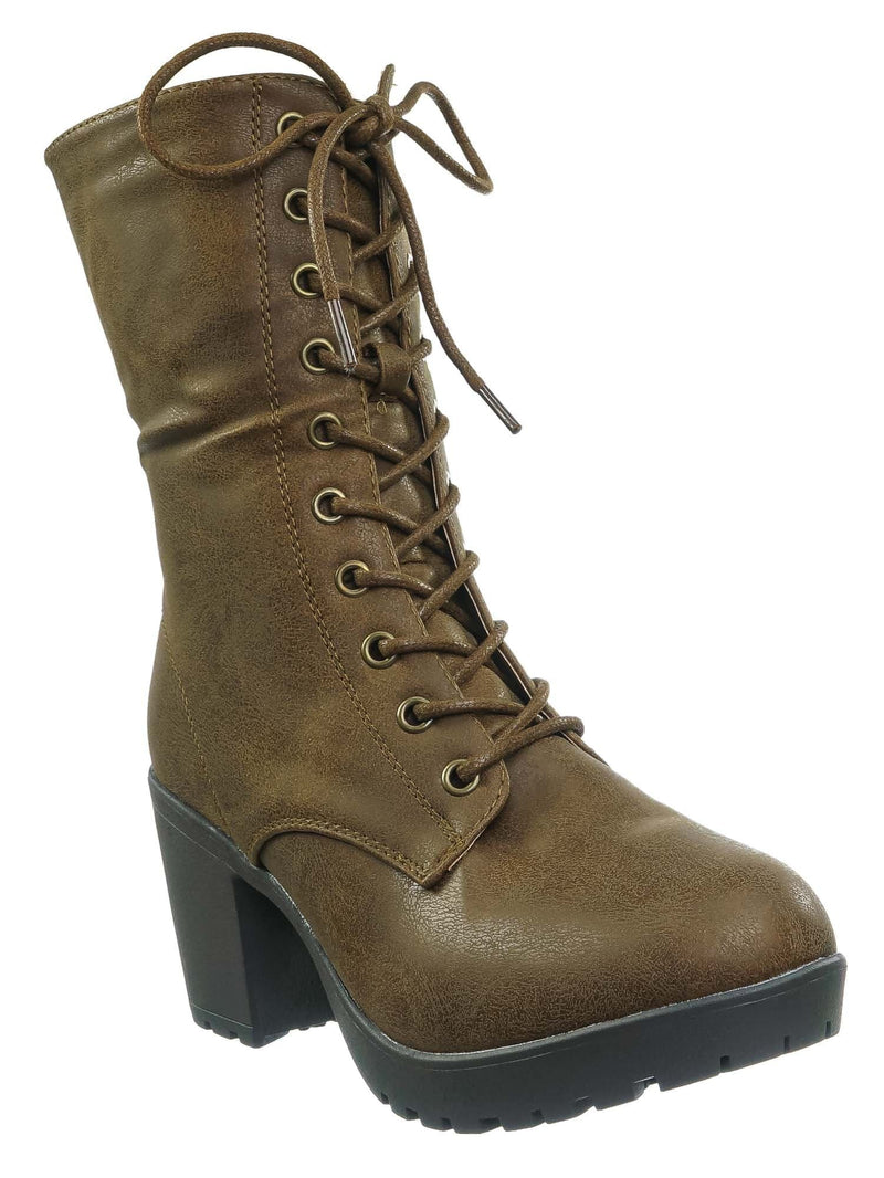 Tan Brown / Plus571 Tan Brown Vintage Military Combat Boots - Womens Engineered Lace Up Shoe