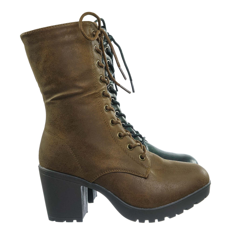 Plus571 Vintage Military Combat Boots - Womens Engineered Lace Up Shoe