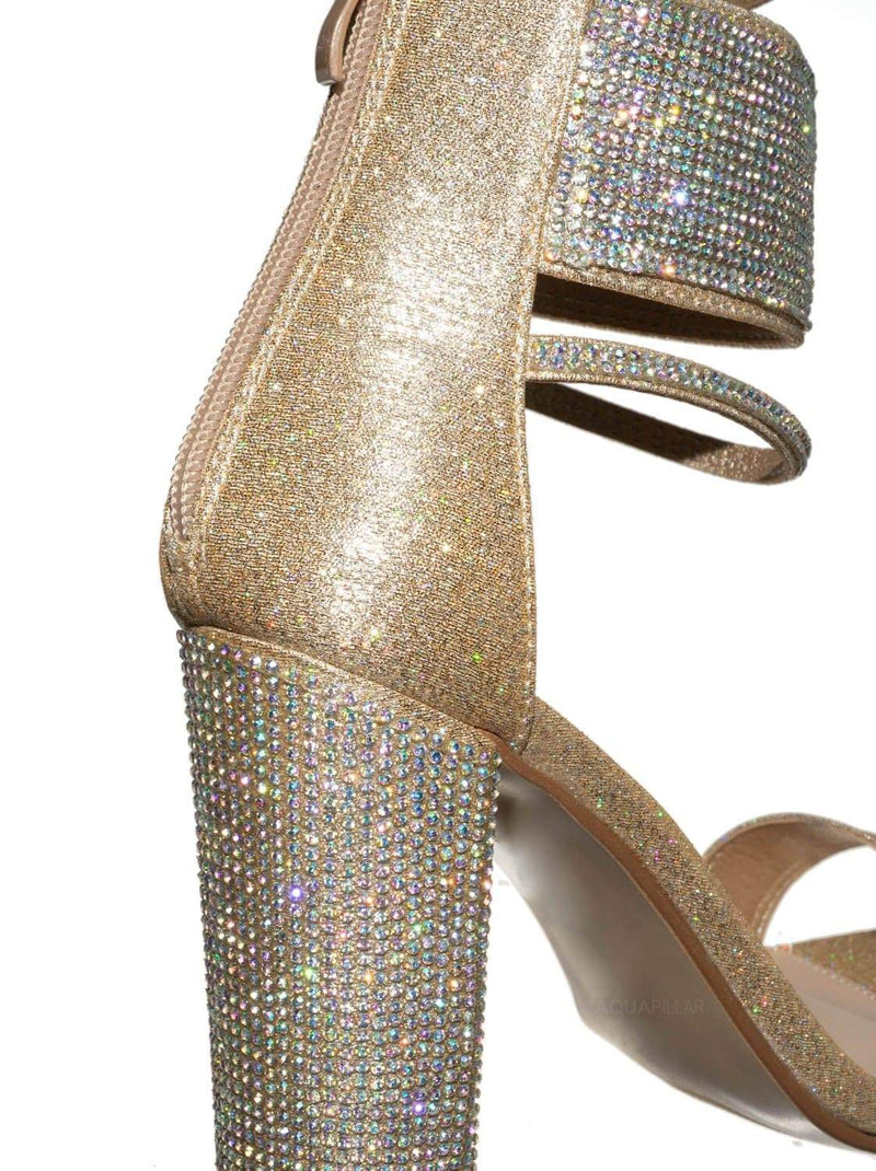 Champagne Gold / Quality84 Rhinestone Crystal Dress Sandal - Wedding Party High Heel Shoes