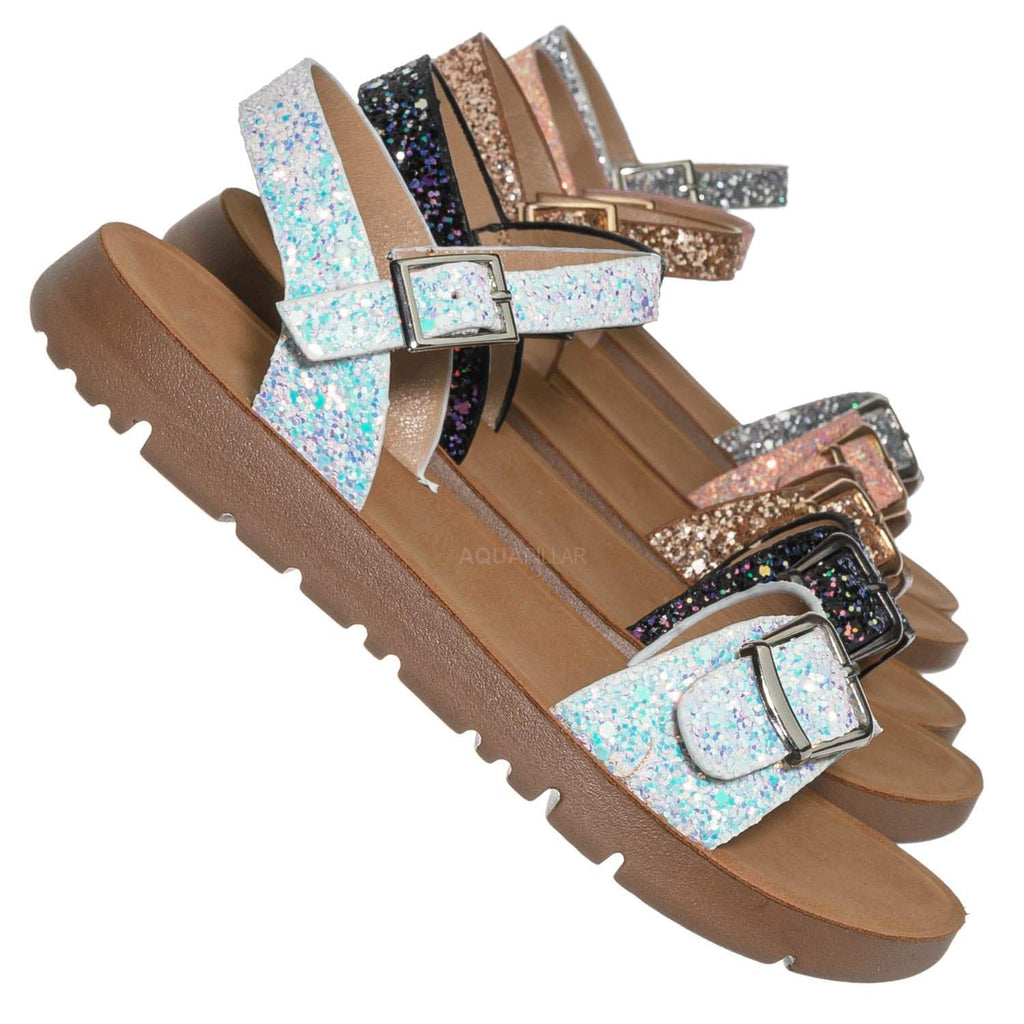 White Glitter / Reform9k Girl Children Comfort Flat Sandal - Kids Size Open Toe Shoe