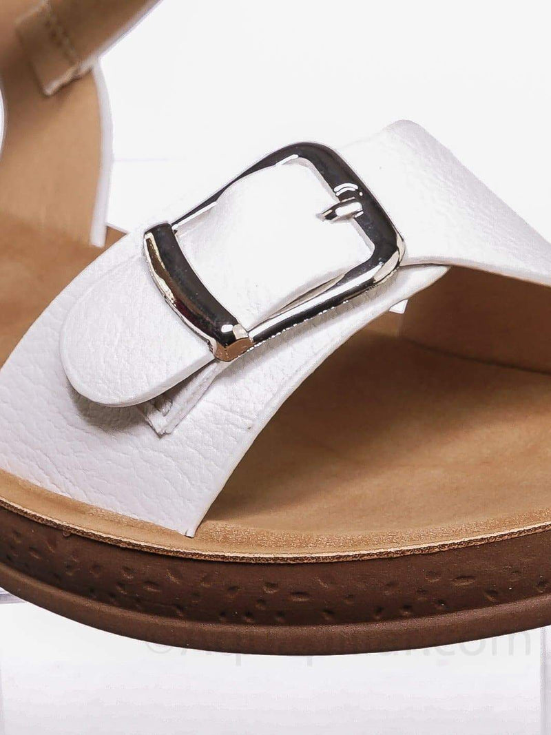 White / Reform9 Comfortable Flatform Open Toe Sandal w Rubber Outsole & Ankle Strap