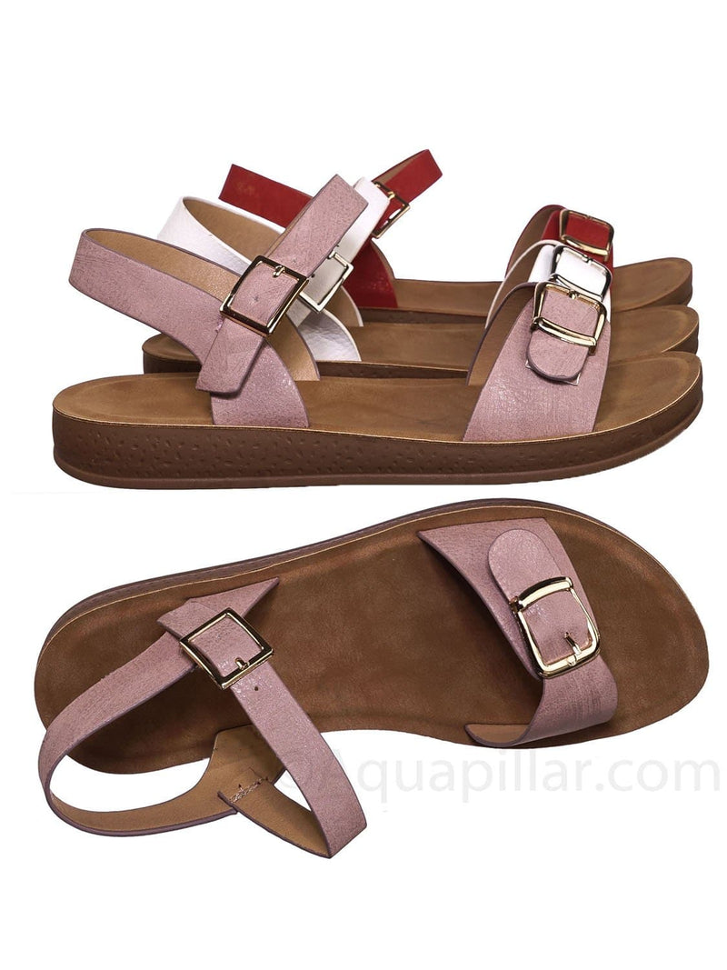 Pink / Reform9 Comfortable Flatform Open Toe Sandal w Rubber Outsole & Ankle Strap