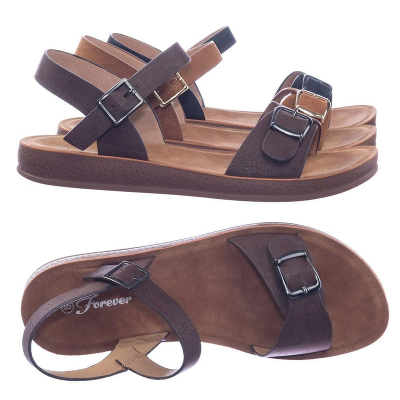 Coffee / Reform9 Comfortable Flatform Open Toe Sandal w Rubber Outsole & Ankle Strap