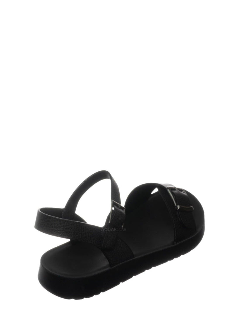 Charcoal / Reform9 Comfortable Flatform Open Toe Sandal w Rubber Outsole & Ankle Strap
