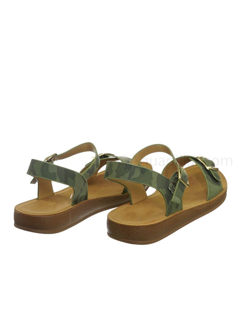 Camouflage Green / Reform9 Comfortable Flatform Open Toe Sandal w Rubber Outsole & Ankle Strap