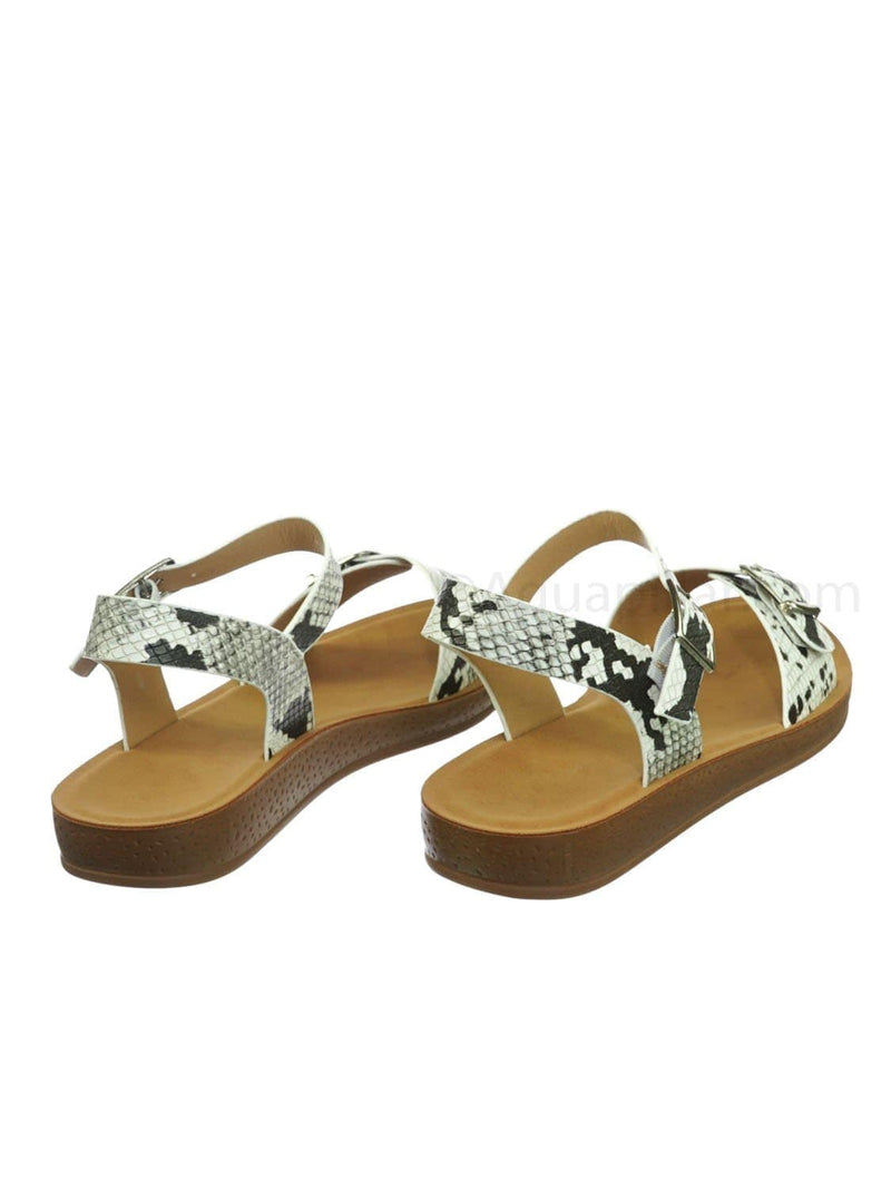 Snake / Reform9 Comfortable Flatform Open Toe Sandal w Rubber Outsole & Ankle Strap