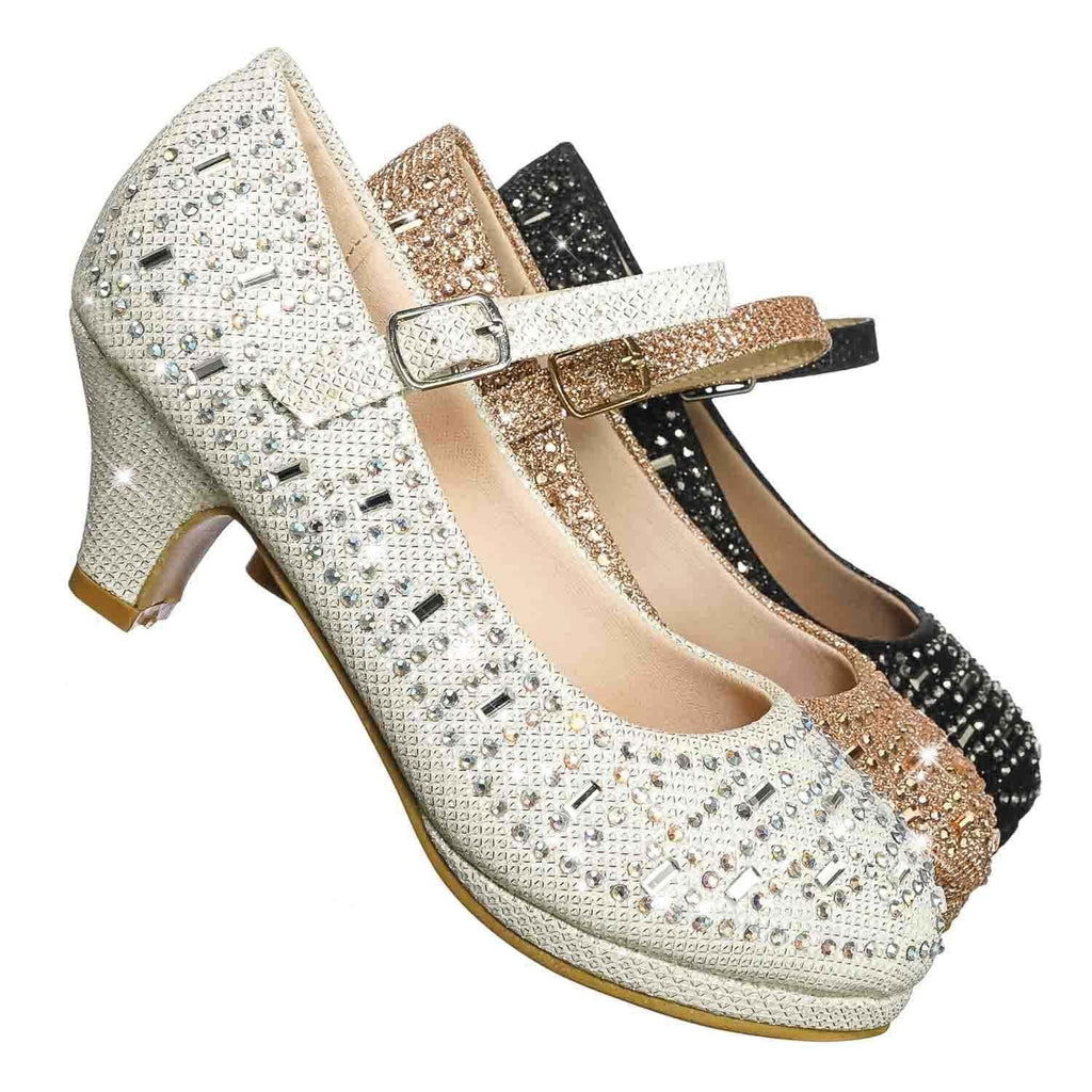 Riley78K White Girls Rhinestone Encrusted Mary-Jane Dress Pump On Mesh Glitter
