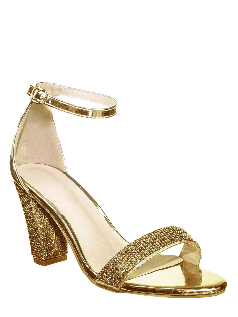 Gold Pu / Rise9 Gold Pu Rhinestone Chunky Mid Heel Sandals- Womens Crystal Ankle Strapped Shoes