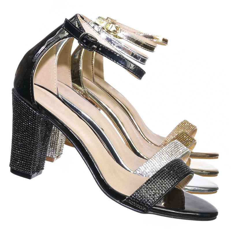 Black Pu / Rise9 Black Pu Rhinestone Chunky Mid Heel Sandals- Womens Crystal Ankle Strapped Shoes