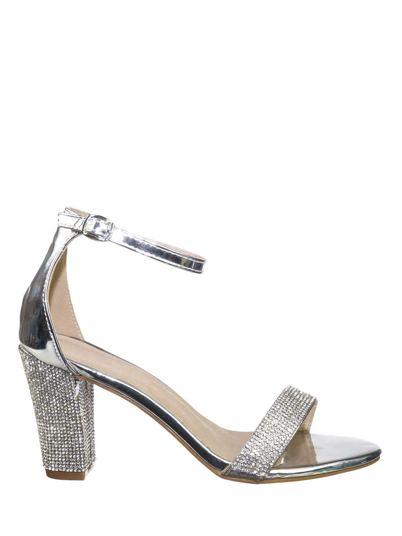 Silver Pu / Rise9 Silver Pu Rhinestone Chunky Mid Heel Sandals- Womens Crystal Ankle Strapped Shoes