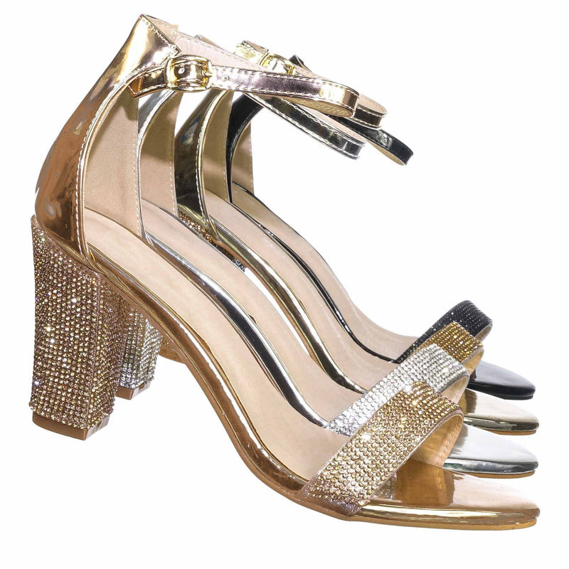 Rose Gold Pu / Rise9 Rose Gold Pu Rhinestone Chunky Mid Heel Sandals- Womens Crystal Ankle Strapped Shoes