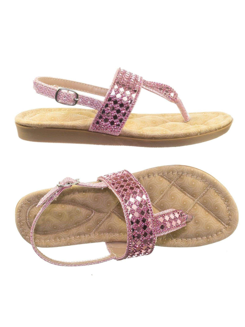 Rosa82K Pink Children Girl Soft Padded Insole Wedge Thong Sandal w Rhinestone Crystal