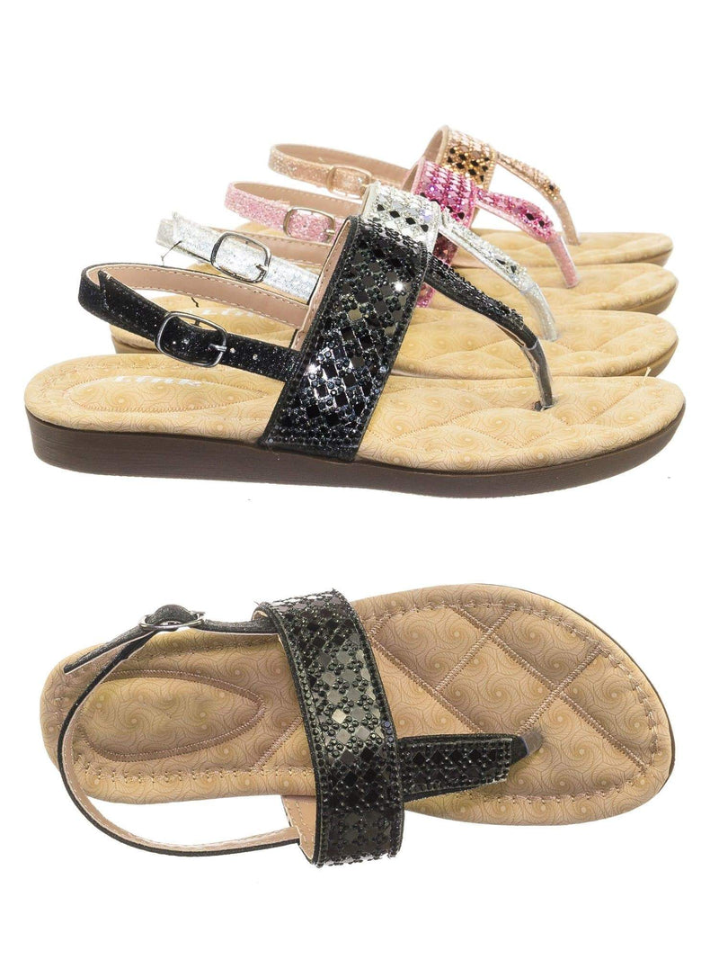 Rosa82K Black Children Girl Soft Padded Insole Wedge Thong Sandal w Rhinestone Crystal