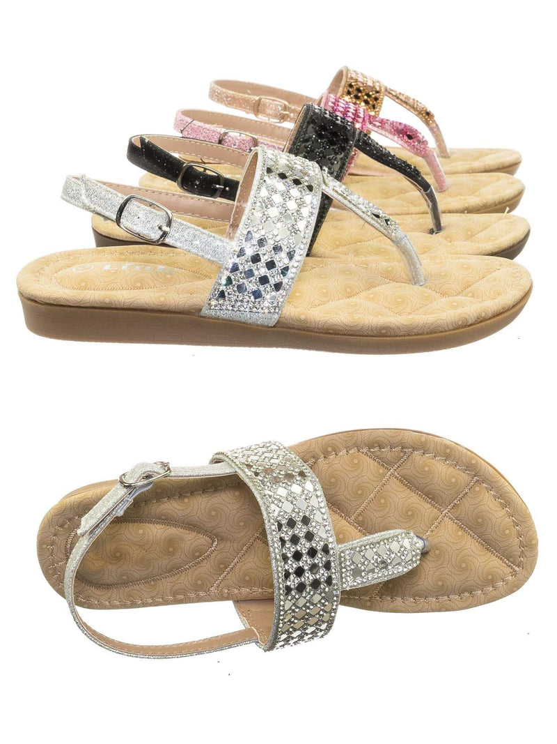 Rosa82K Silver Children Girl Soft Padded Insole Wedge Thong Sandal w Rhinestone Crystal