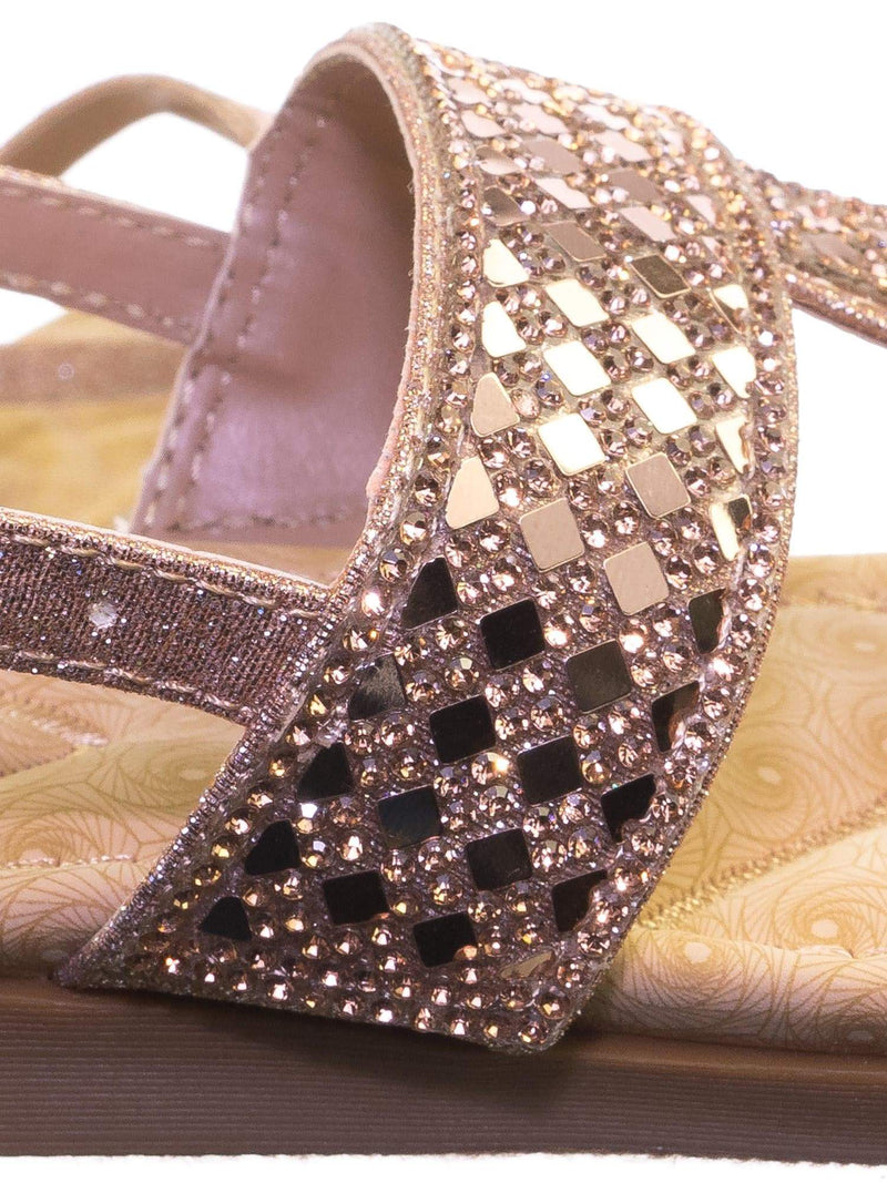 Rosa82K Rose Gold Children Girl Soft Padded Insole Wedge Thong Sandal w Rhinestone Crystal