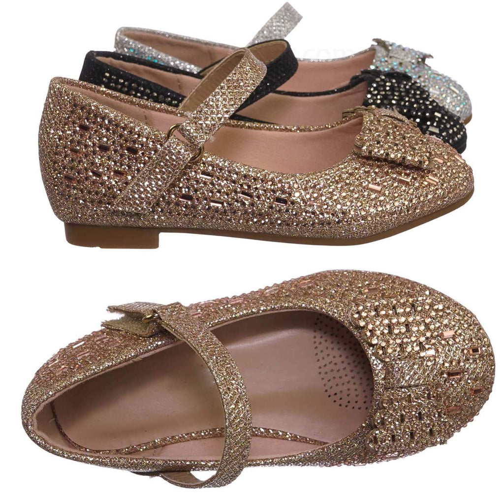 Rose Gold / Sabina72KA Baby Toddler Rhinestone Mary Jane Ballet Flat - Kids Dress Shoes
